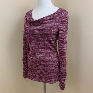 Caslon cowl neck long sleeve sweater S purple